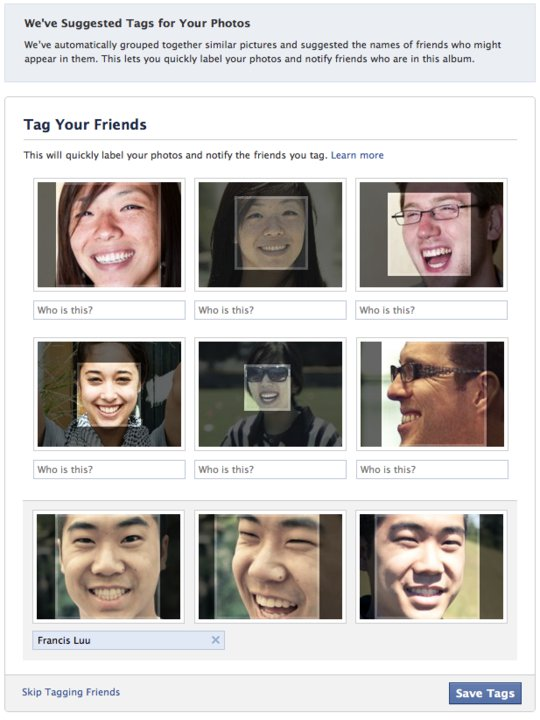 Facebook Facial Recognition Tagging