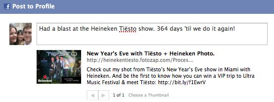 Heineken Facebook Share Page