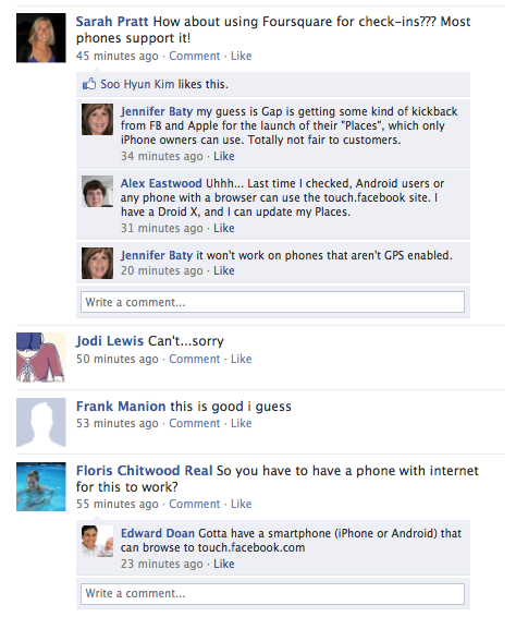 Gap Facebook Wall Comments